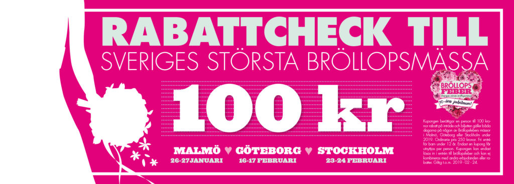 Rabattcheck 100 kr Brollopsfeber 2019