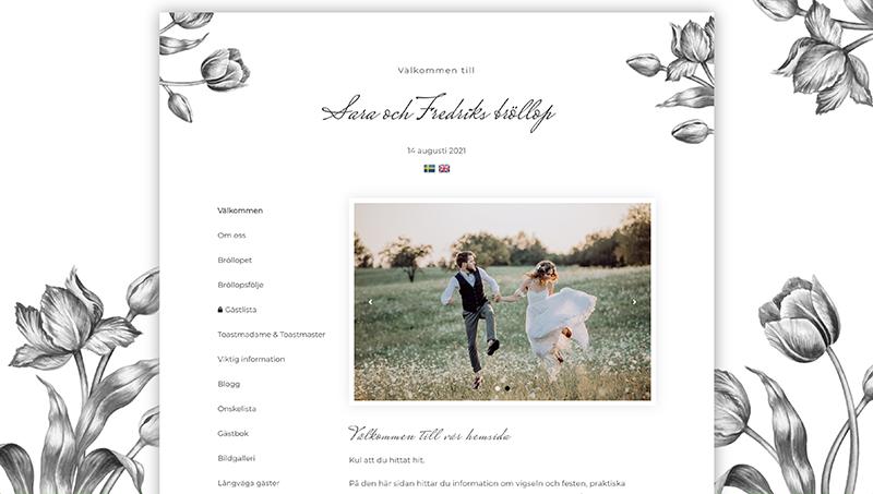 Min Bröllopssajt design - Spring tulips black and white