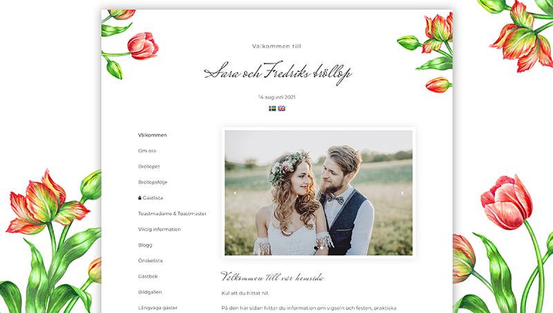 Min Bröllopssajt design - Spring tulips